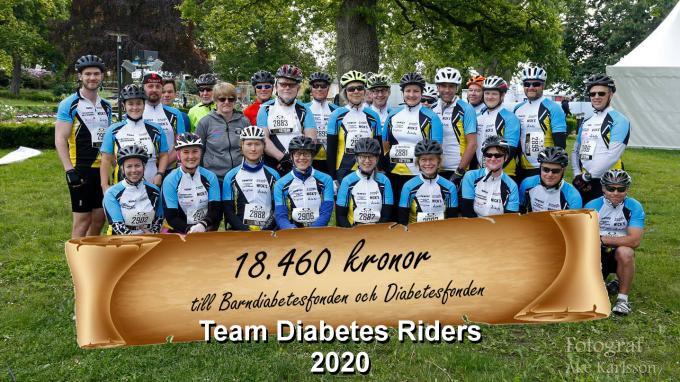 Team Diabetes Riders är samlade och redovisar 18.460 insamlade kronor år 2020